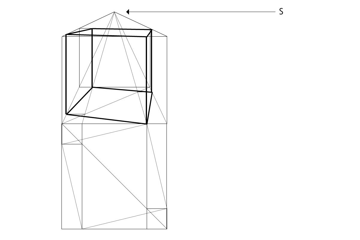 Perspektive eines Würfels mittels der Neuen Methode